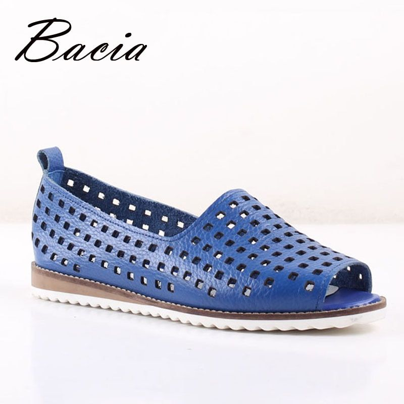 Bacia New Casual Soft Leather Hollow shoes Peep-toe Flats Rice Blue Spring Summer Leisure Full Grain shoes Size 33-41 SA015