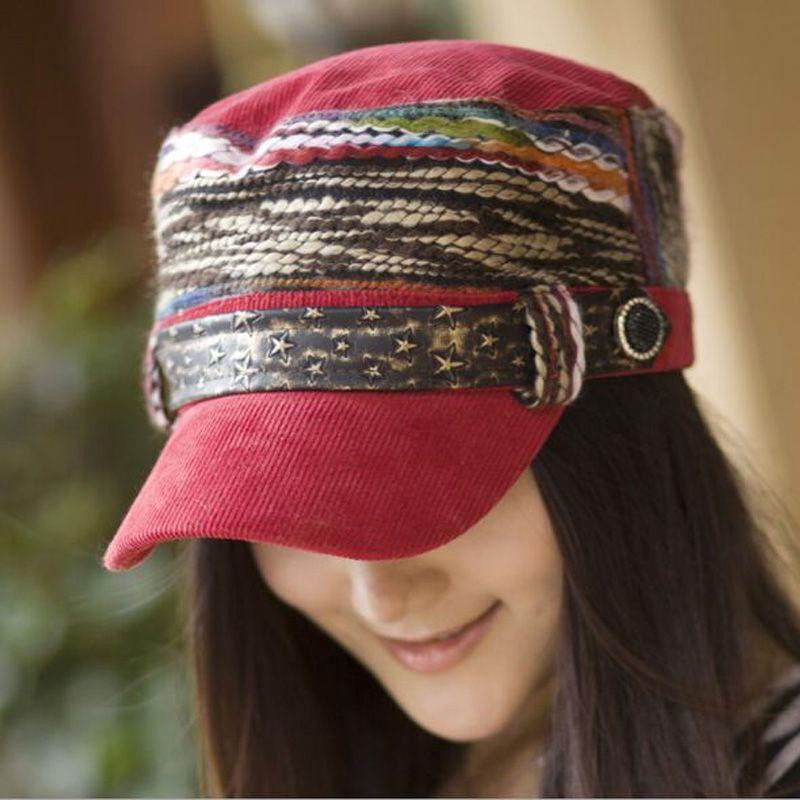 2019 nouvelle Version sud-coréenne casquette de Baseball pour femmes Snapback multicolore boucle de ceinture Rivet casquette velours côtelé tissu chapeau pour les femmes