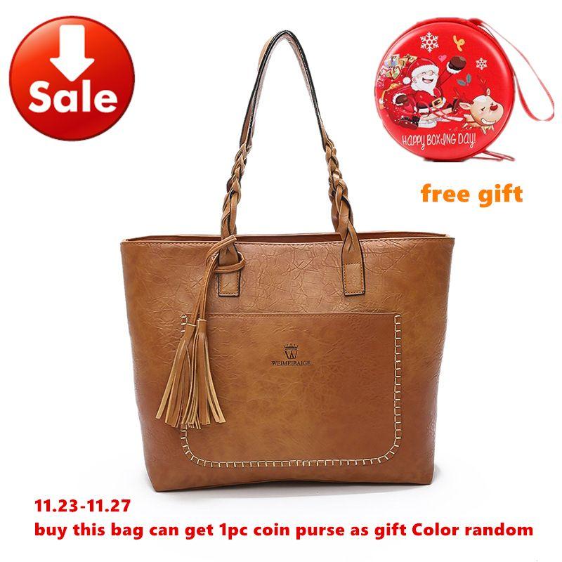 Large Brand Fashion Shoulder Bags for Women 2018 Fall Leather Fringe Handbags Retro Tassel Casual Totes Gift Female Sac a main
