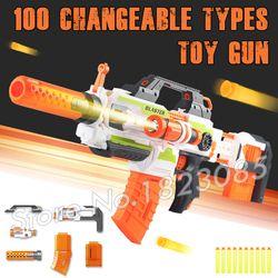 100 Berubah Kombinasi Elektrik Gun Peluru Lembut Mainan Plastik Senapan Mesin Semburan Kompatibel dengan N-strike Modulus Hadiah