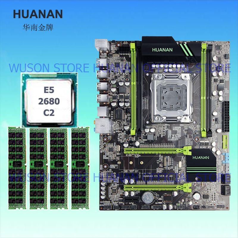 Computer DIY brand HUANAN ZHI X79 motherboard CPU RAM set processor Xeon E5 2680 C2 SR0KH 2.7GHz RAM 16G(4*4) DDR3 server memory