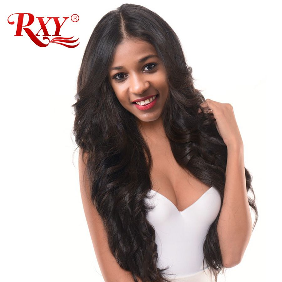 RXY Glueless Lace Front Human Hair Wigs For Women 150% Density Brazilian Human Hair Lace Front Wigs Body Wave Wig Black Non-Remy