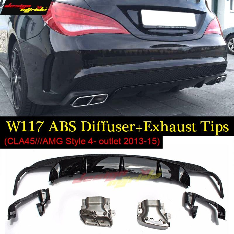 For Mercedes CLA W117 with CLA45 AMG style abs diffuser + 4-outlet alloy exhaust tip for benz CLA180 CLA200 CLA250 2013-2015