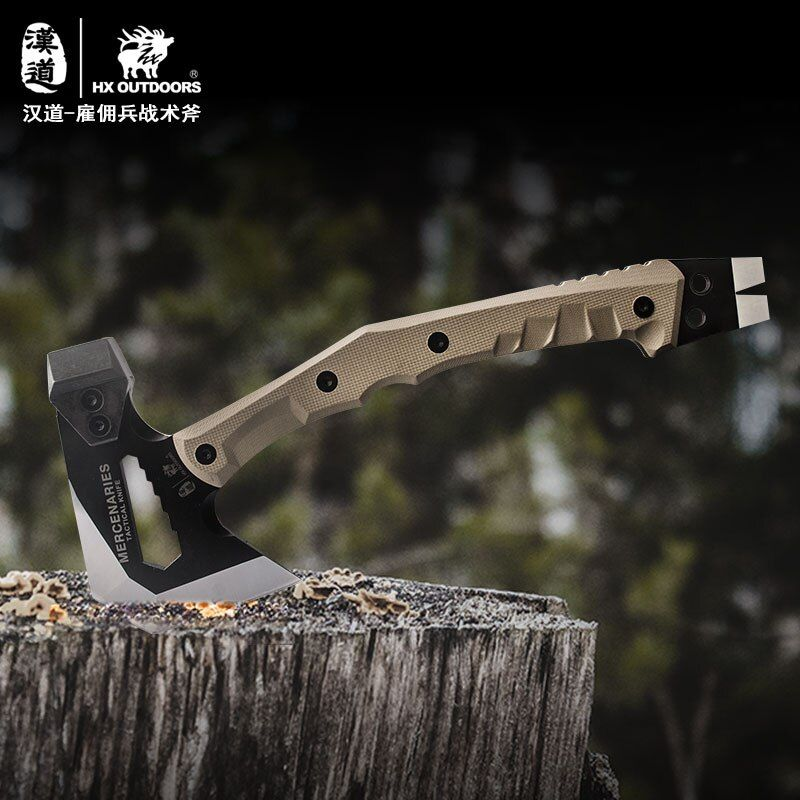 HX OUTDOORS Outdoor Tactical Engineer Axe,Weapon Field Camp Axe, Mountain Axe Outdoor Camping Axe hammer hunting survival multi