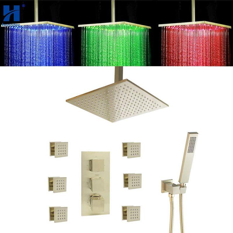 Hongdec Bad Luxus Messing Gebürstet gold Thermostat LED decke 16