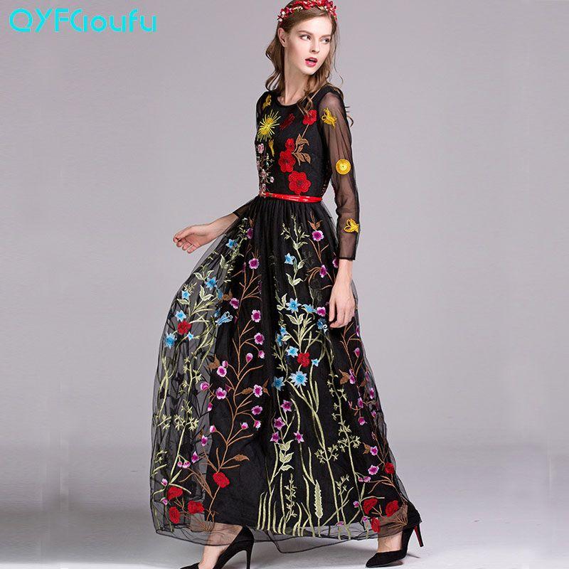 QYFCIOUFU Haute Qualité Automne Maxi Robe 2017 Piste Femmes Mode Manches Longues Designers Tulle Floral Brodé Robe Noire
