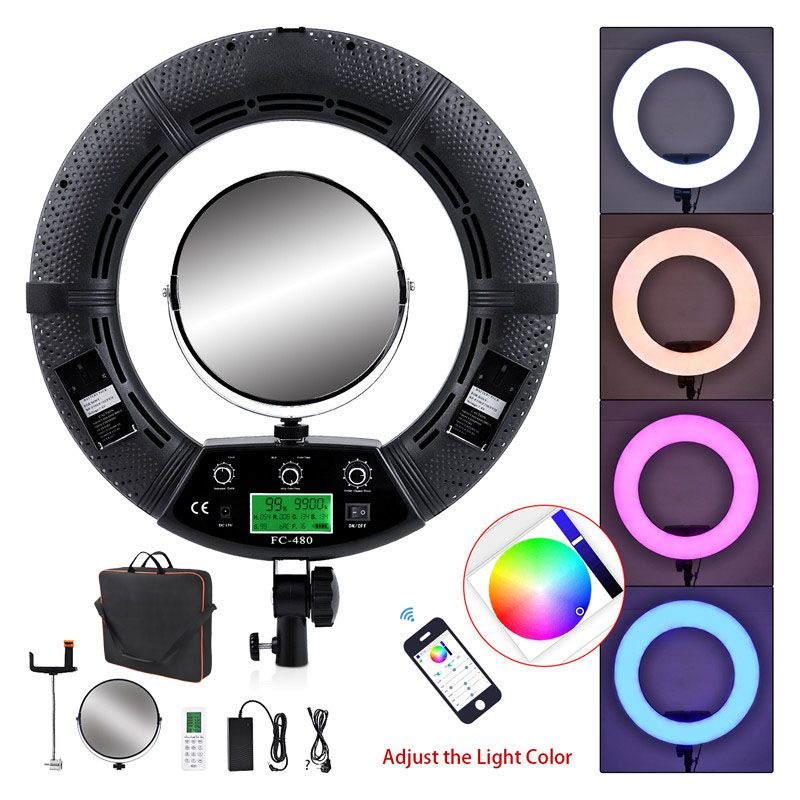 Yidoblo FC-480 Colorful 480 Led Photographic Lighting Dimmable 2800-10000k 96W Camera Phone Photo Studio Ring Light Lamp& Mirror