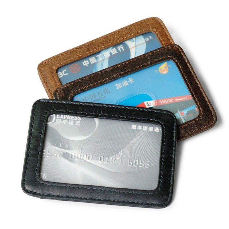 Genuine Leather Business Card Holder Slim Vintage Wallet for Credit Cards Small Case for Bank Cards Men Card Id Holders