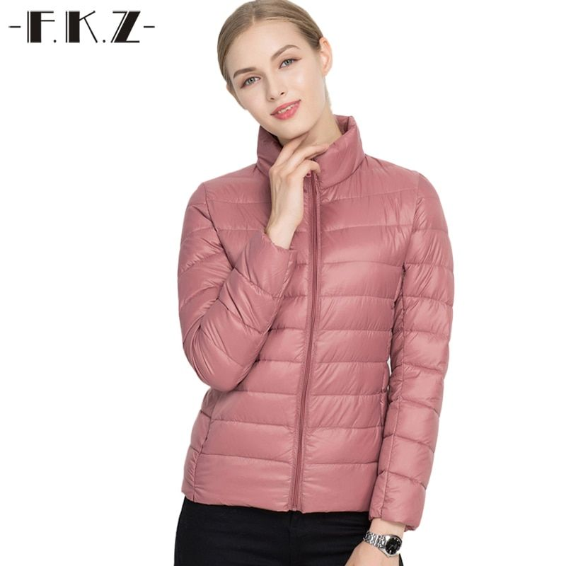 FKZ 2018 Winter Coat Women Thin Outerwear 90% White Duck Down Coats Stand Collar Casual Slim Parkas Solid Jacket SKC0202
