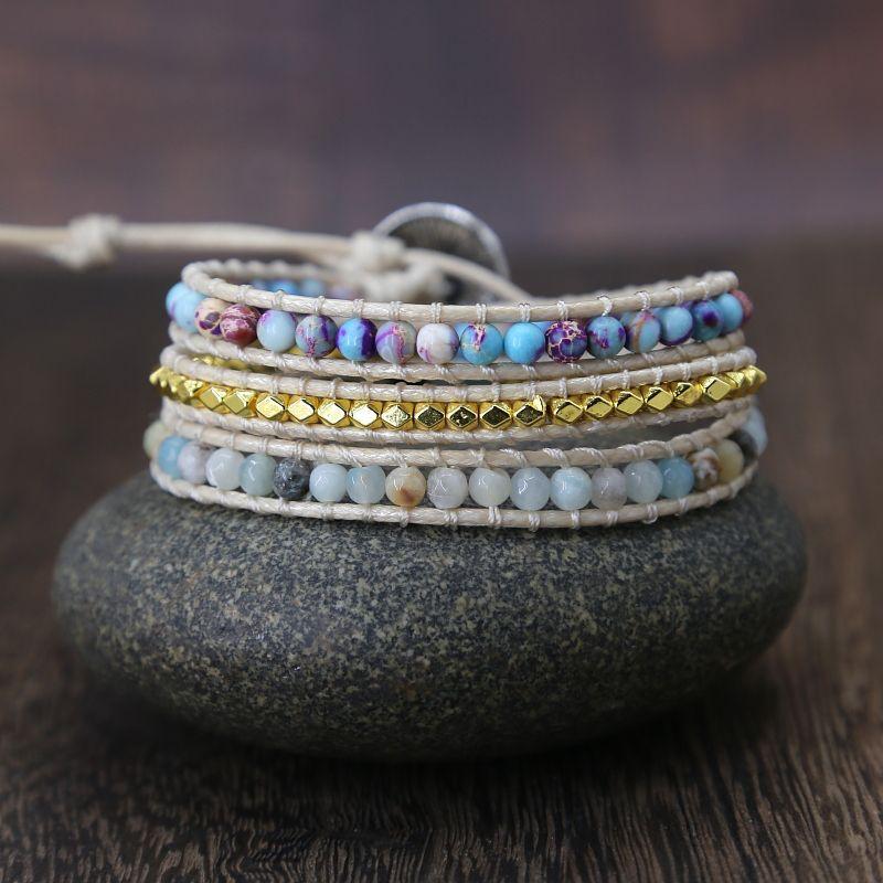 Bohême Vintage Unique pierre naturelle turquoises charme 3 brins bracelets d'enveloppement à la main Boho Bracelet femmes Bracelet en cuir