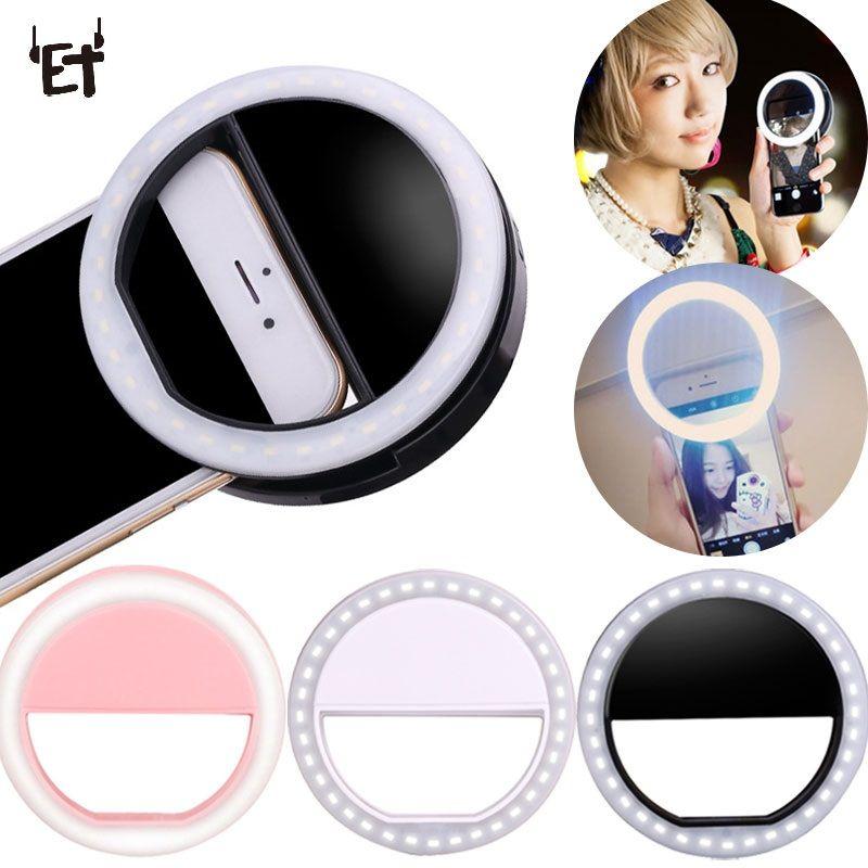 ET Universel Téléphone Selfie LED Flash Light Universal Mobile Téléphone Selfie Lumineux Anneau Clip Objectif Pour iPhone Samsung Xiaomi Huawei