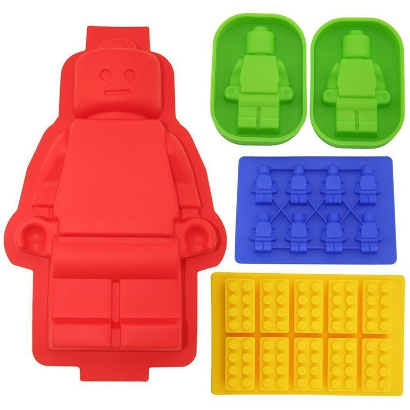 5pCS Big <font><b>Robot</b></font> Cake Pan Silicone Lego Lovers Chocolate Mold Building Block Ice trays Silicone Baking Molds Bakeware Tools