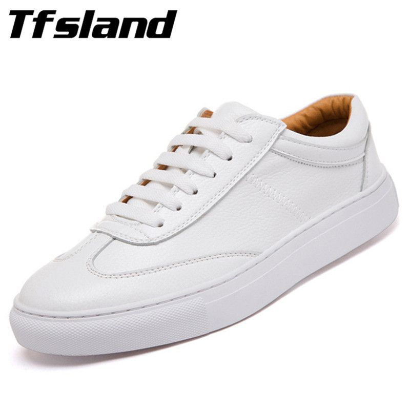 Tfsland Men Women Genuine Leather Loafers Students White Shoes Unisex Spring Round Toe Lace Up Breathable Walking Shoes Sneakers