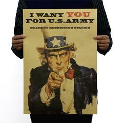 I Want You for U.S. Army Vintage Kraft Paper Poster Home School Office Wall Decoration Art Retro Posters and Prints