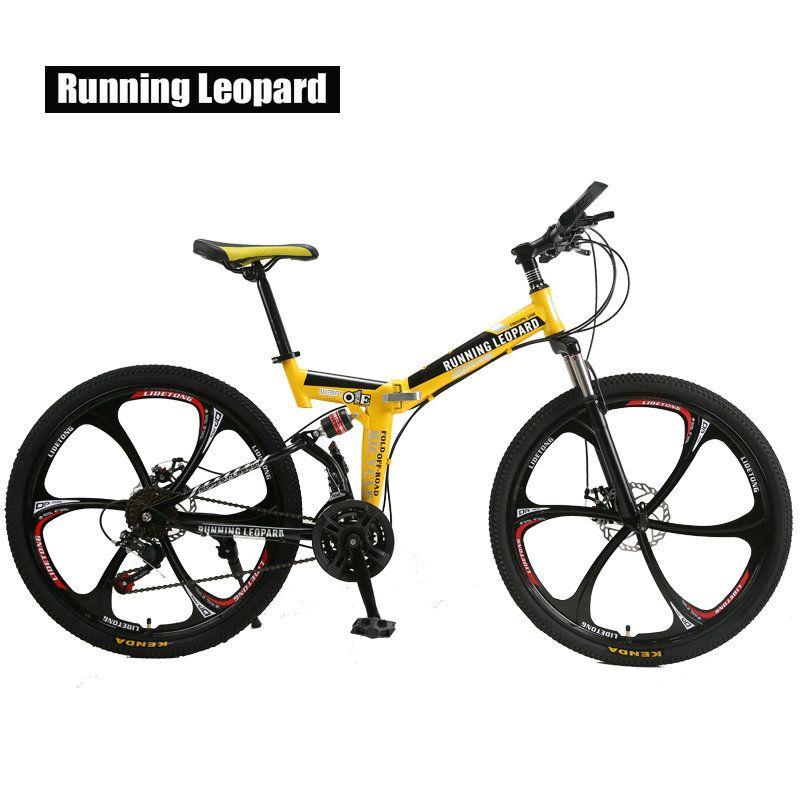 Vélo de montagne pliable léopard 26 pouces vélos en acier 21 vitesses freins à disque doubles vélos de route vélo de course vélo BMX Bik