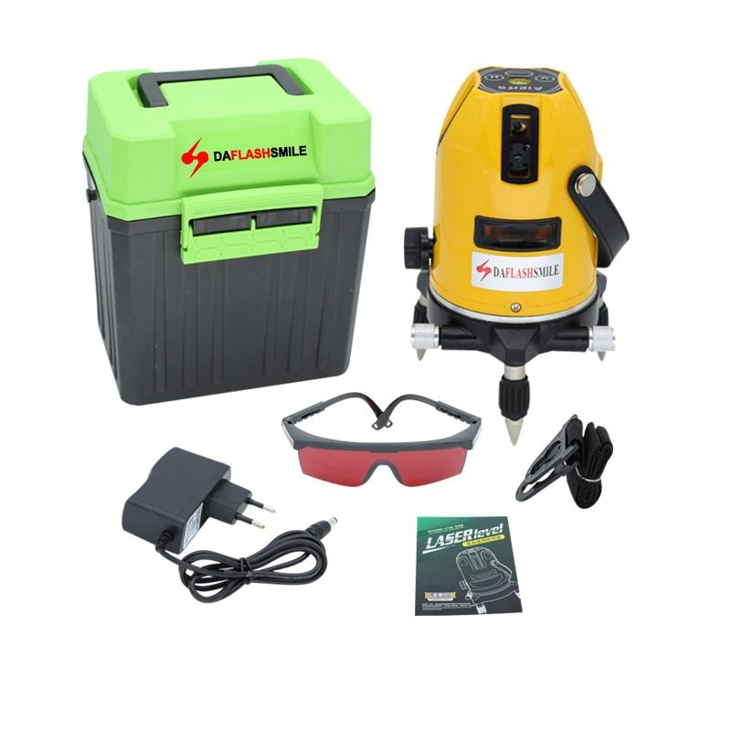 Laser Level 5 Lines 6 Points 360 degrees rotary 635nm strong thick lines Horizontal and Vertical Cross Super Powerful Red Laser