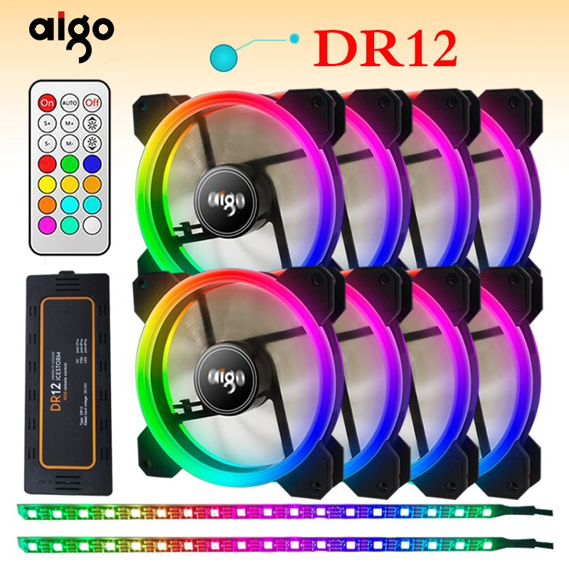 Aigo DR12 Double RGB Aura Pc Fan 12v 4 Pin 120mm Cooling Fan For Computer Silent Gaming Case Cooler Fan With Controller am3 am4