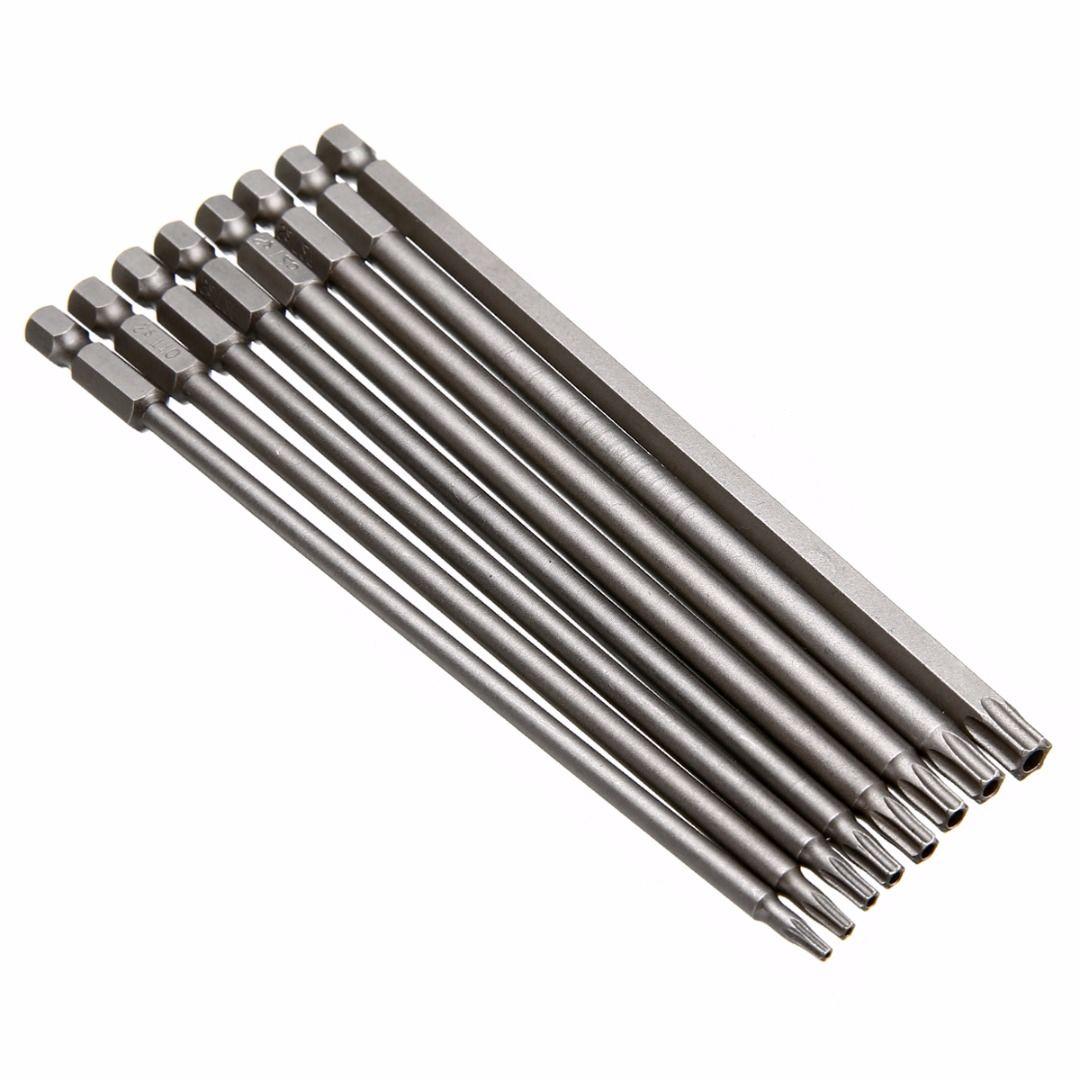 8 pièces Magnétique Torx Tournevis 150mm de Longueur En Acier Électrique Screwdrier Outils T8/T10/T15/T20/T25/T27/T30/T40