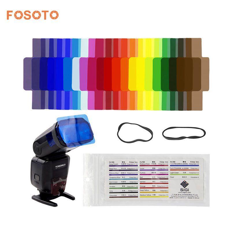 Fosoto 20 pièces Flash Speedlite Couleur Gels Filtres pour Canon Nikon Sony Yongnuo DSLR Caméra Flash Accessoires D'éclairage de Studio