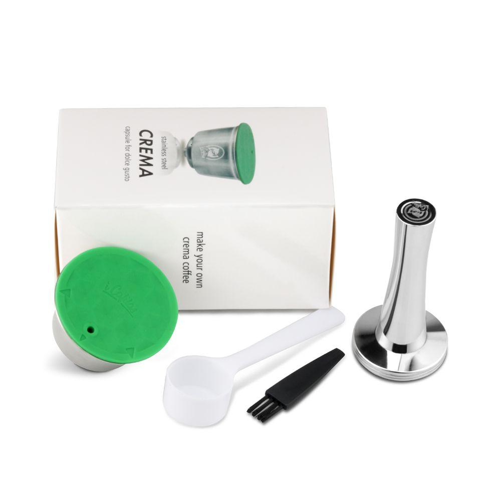 Dolce Gusto Rusable en métal inoxydable adapté pour Nescafe avec filtre uesed 200 fois café moulu inviolable cuillère à café clipfactice