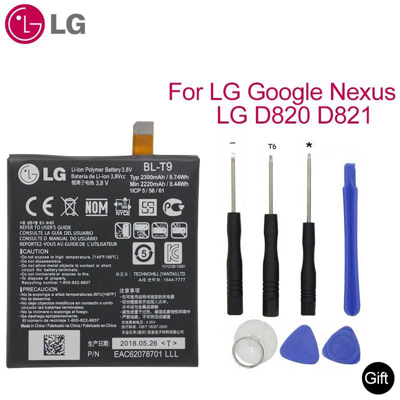 Original pour LG Nexus 5 batterie BL-T9 pour LG Nexus5 batterie BL T9 G2 D820 D821 remplacement téléphone Batteria 2220mAh + 9 outils + colle