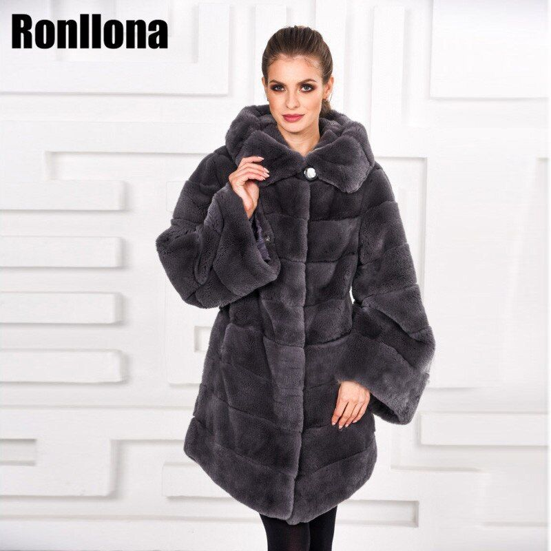 2018 Real Rex Rabbit Fur Coat Women With Hood Thick Warm Winter Natural 100% Rabbit Fur Jacket Genuine Fashion Outwear RB-086