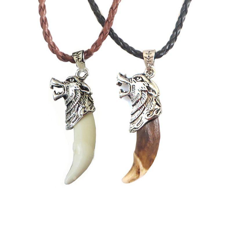 1 Pc mode hommes collier Tribal Stark loup croc dent collier tête de loup amulette pendentif collier bijoux