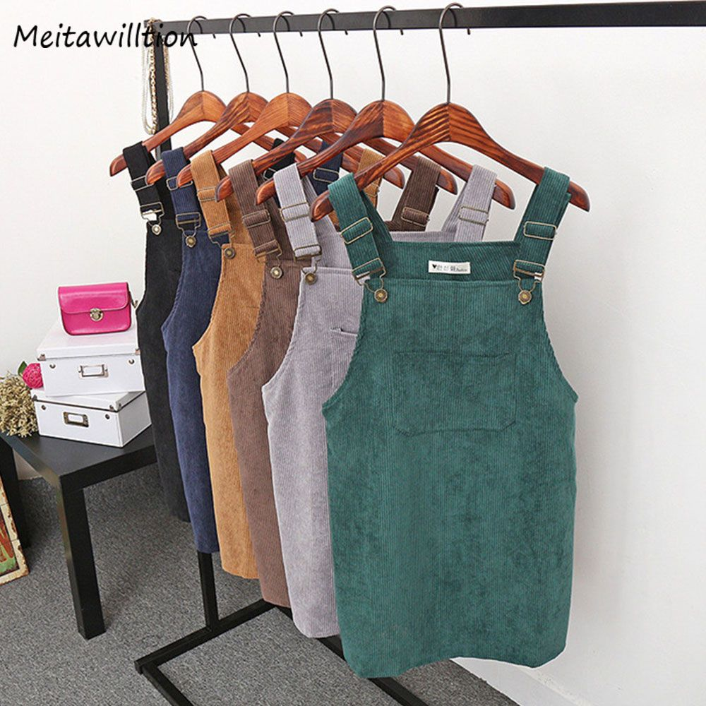2019 Women Retro Corduroy Dress Autumn Spring Suspender Sundress Sarafan Loose Vest Overall Dress Female Natural Casual Dresses