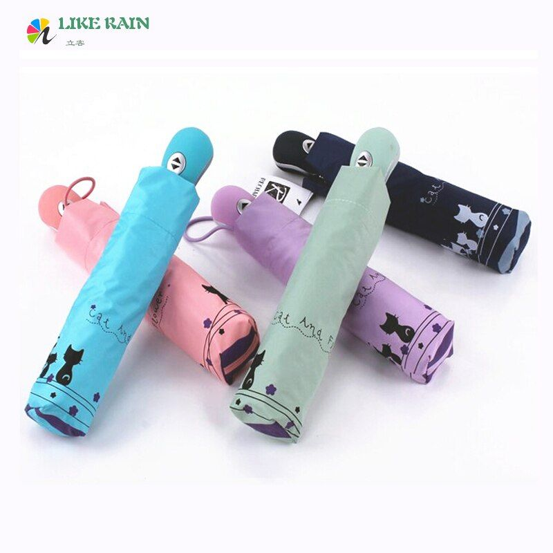 LIKE <font><b>RAIN</b></font> High Quality Romantic Cute Automatic Umbrella <font><b>Rain</b></font> Women 2017 New Creative parasol Cat Brand Umbrellas UBY29