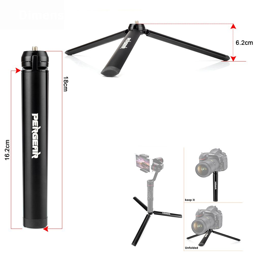 Pergear Aluminum Mini Table Tripod Leg for Zhiyun Smooth Q Crane Tripod Head Selfie Stick Extendable Monopod Smartphones Cameras