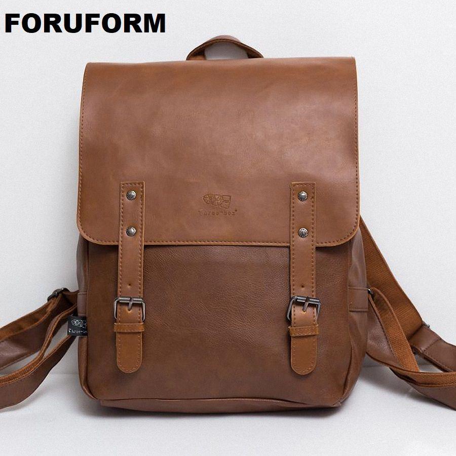 Vintage PU Leather Men Leisure Backpacks Preppy Style Mochila School Backpack 14'' Male Laptop Teenagers Shoulder Bag Rucksack