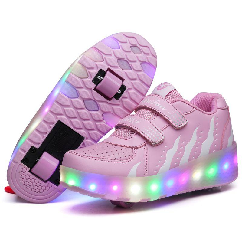 Two Wheels USB Charging Luminous Sneakers on Wheels Led Light Heelys Roller Skate Shoes for Children Kids Led Shoes