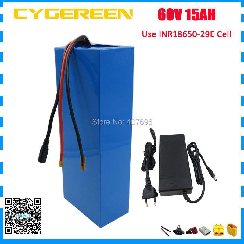 60 V Lithium ion batterie 60 V 15AH 1500 W batterie de vélo électrique 60 V 14.5AH batteries utiliser 29E 2900 mah cellule 30A BMS 2A chargeur