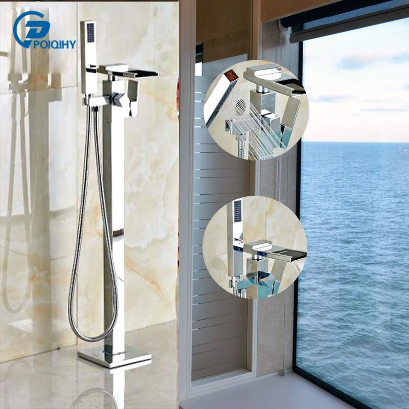 POIQIHY Floor Standing Waterfall Bathtub Faucet Centerset with Hand Shower Sprayer Chrome Finish Mixer Tap
