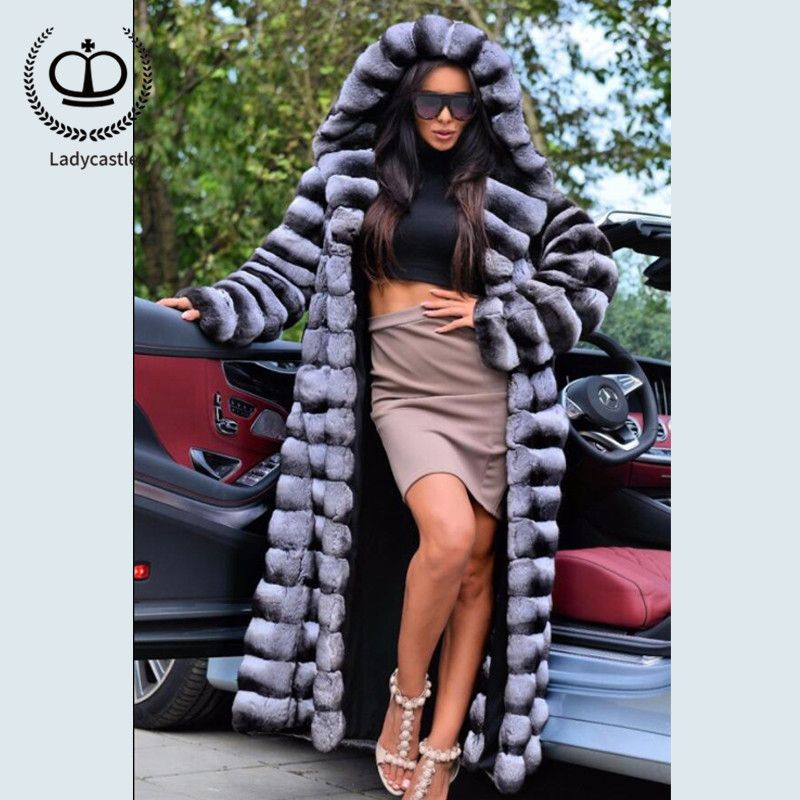 2018New Real Chinchilla Rex Rabbit Fur Coat With Big Hood X-Long Winter Jacket With Real Fur Women Down Coat From Natural RB-060