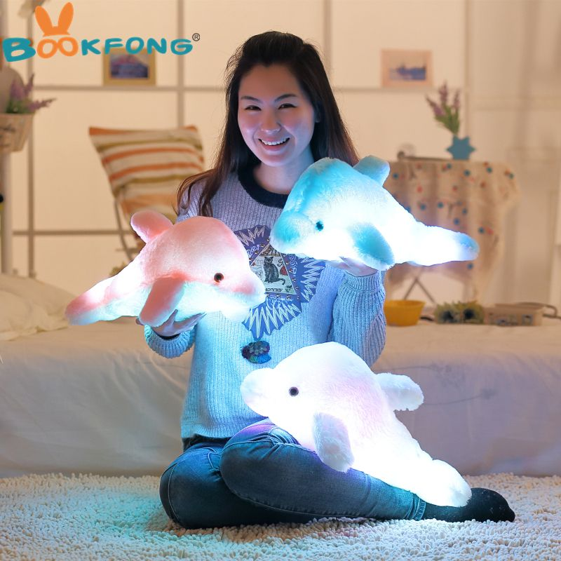 BOOKFONG Colorful Led Light Pillow Cushion Cute Dolphin Stuffed Plush Doll Toy Girl Birthday Gift 45cm