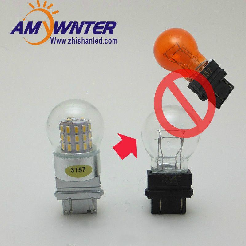 AMYWNTER P27/7 W 3157 LED fonction de lumière double style voiture 3156 LED ambre jaune blanc feux de frein de voiture ampoules rouge Source de lumière de voiture