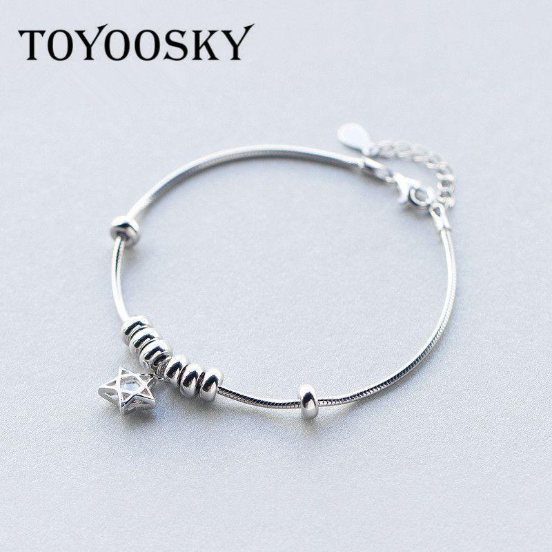TOYOOSKY Populaire Pendentif 925 Unique Silver Star Ronde Charme Bracelet avec Zircon pour les Femmes Bracelets & Bangles Bijoux Cadeau
