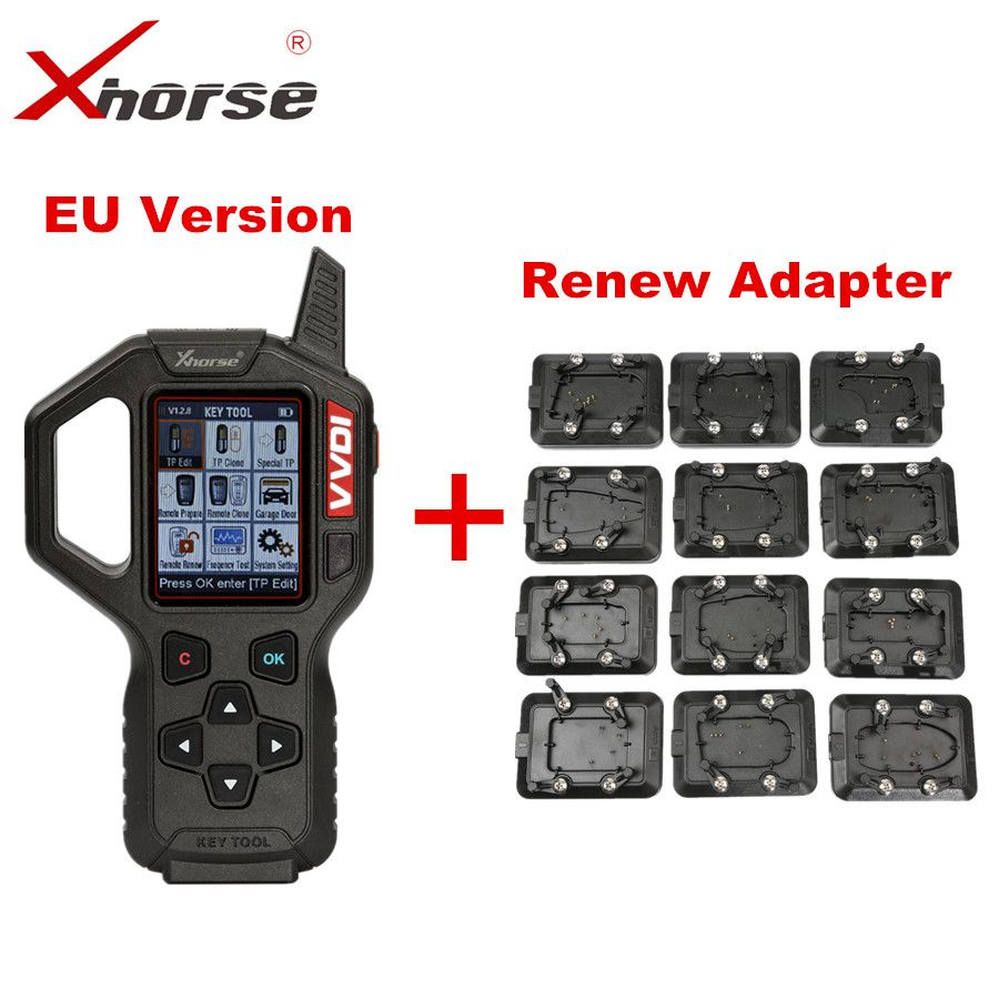 Original Xhorse VVDI Key Tool Remote Key Programmer EU Version With Full Set 12pcs EEPROM Adapter VVDI Key Tool Renew Adapter