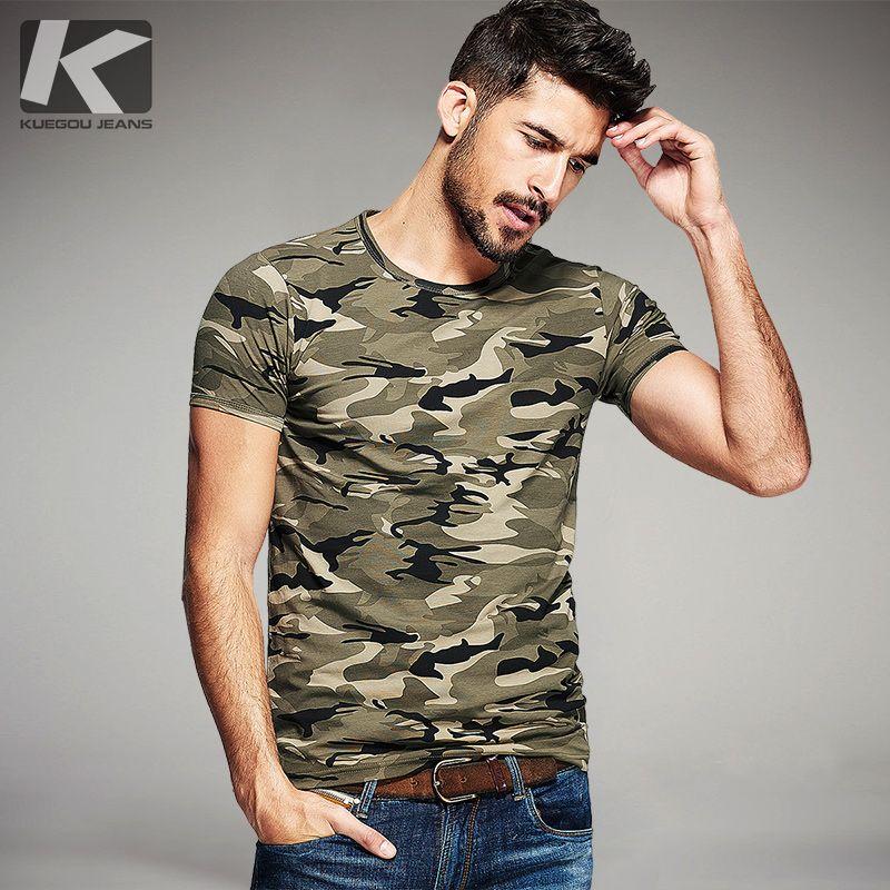 KUEGOU Summer Mens Fashion T Shirts Camouflage Army <font><b>Green</b></font> Brand Clothing For Man's Wear Short Sleeve Slim T-Shirts Tops Tee 1192