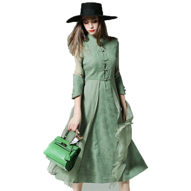 Съемка в Европе и большой новая весна ретро семь рукавом Slim белье печатных шелковое платье шить
