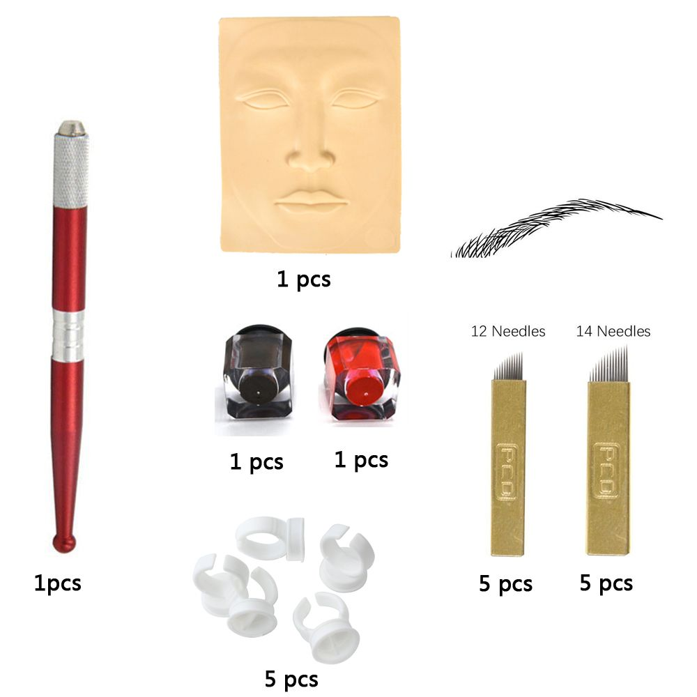 Microblading accesories Permanent Makeup Eyebrow Tattoo Needle Pen Ink Practice Skin Kit with 10pcs needle blade For Learner use