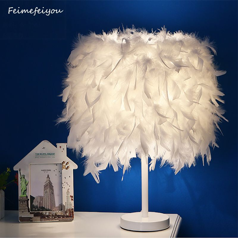 Feimefeiyou modern Creative Feather Lamp E27 Table Lamp for Baby Kids Children Bedroom Droplight Lighting Decor small size
