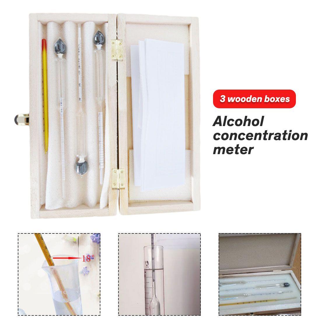 3 pièces/ensemble 0-100% alcoomètres alcootest professionnel testeur d'alcool compteur de Concentration pour alcool de vin avec thermomètre