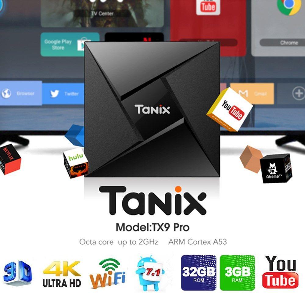 Tanix TX9 Pro TV Box Android 7.1 Amlogic S912 Octa-core 3G RAM 32G ROM Set Top Box Bluetooth 2.4G/5.8G Wifi 1000M Media Player