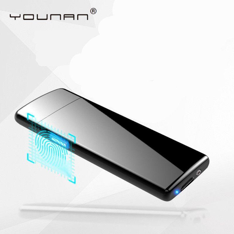 YOUNAN Mince 7.5mm Double Face D'empreintes Digitales allumage Allume-cigare USB Coupe-Vent Électronique Allume-cigare Hommes Gift-8012