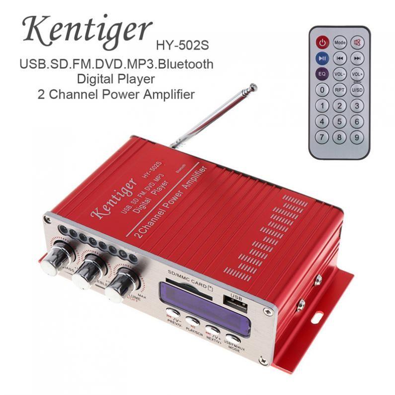 HY-502S DC 12V 2-CH HI-FI Bluetooth Digital Audio Player Car Amplifier FM Radio Stereo Player Support SD / USB / MP3 / DVD Input