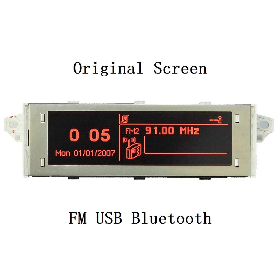 Original Car Screen 12 Pin Support USB Bluetooth Red Monitor For <font><b>Peugeot</b></font> 307 207 407 408 For Citroen C4 C5 Display Screen