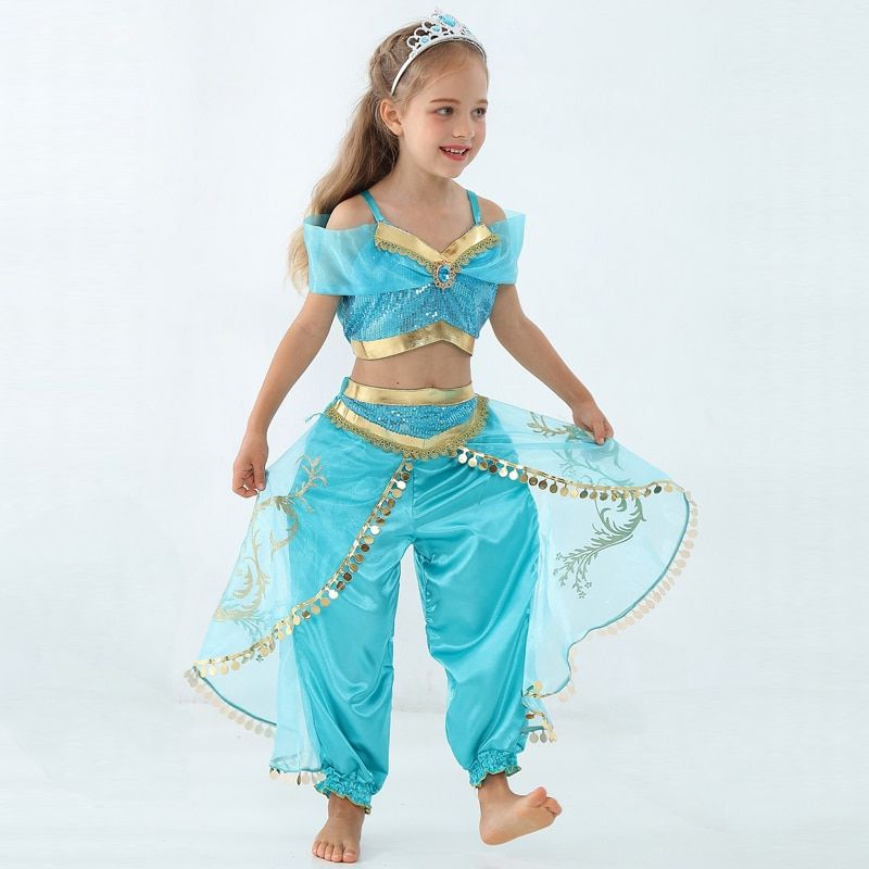 Girls Kid Summer Jasmine Princess Dance Dress Suit Aladdin Halloween Christmas Performance Costume Top Skirt Pant Two piece Set