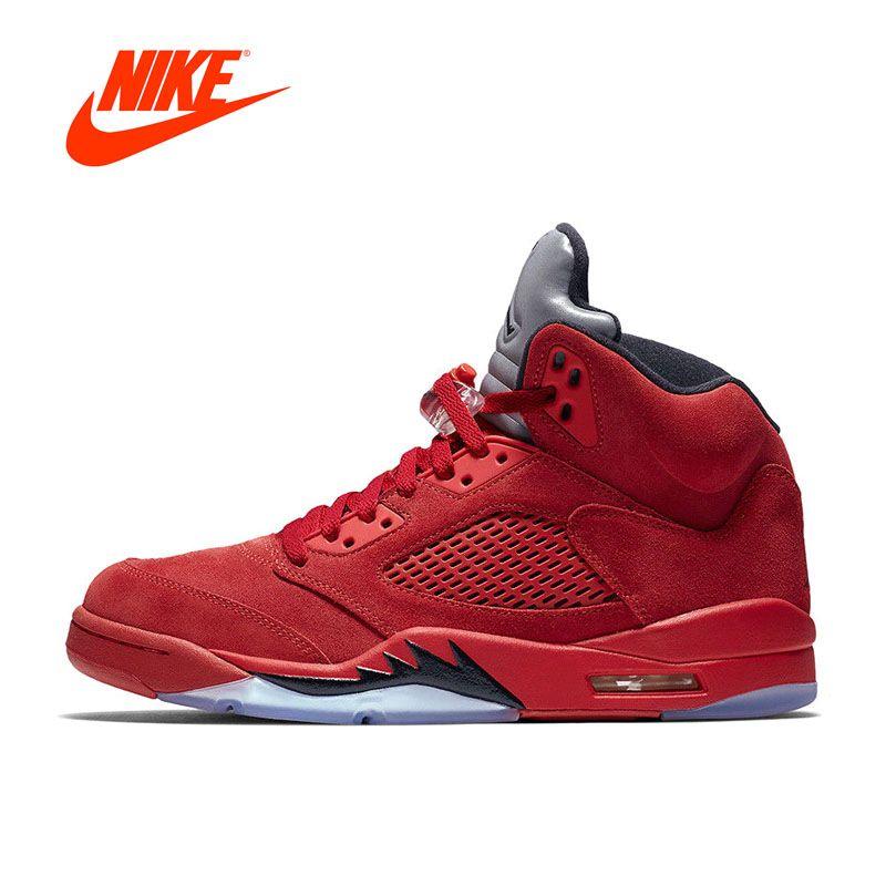 Новое поступление Официальный Nike Air Jordan 5 красные замшевые aj5 Для мужчин дышащие Баскетбольные кеды спортивные Спортивная обувь